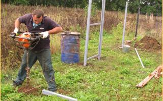 Земляные работы - копка ям для столбов