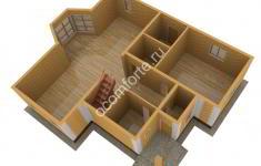 Дом СКАЗКА - 3D план 1 этажа