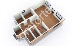 Дом ХУТЫНЬ - 3D план 1 этажа