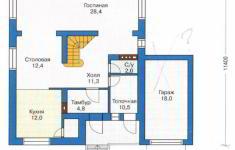 Проект дома 42-11 - план 1 этажа