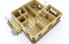 Дом КОМФОРТ - 3D план 1 этажа